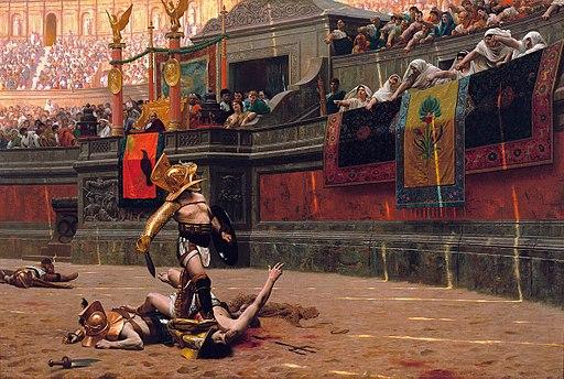 """painting by Jean-Léon Gérôme  - public domain """"gladiators"""